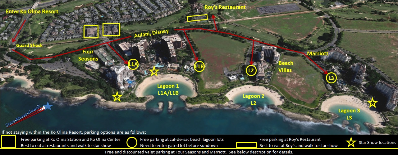 Ko Olina Resort, Stars Above Hawaii, Four Seasons Oahu, Aulani Disney Resort Spa, Marriott Vacation Beach Club